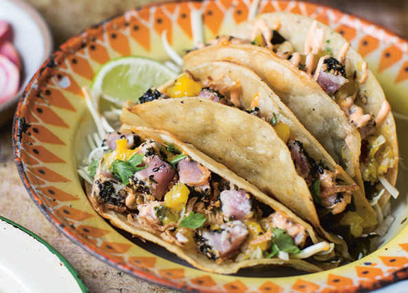 Image: Crispy sesame-crusted tuna tacos with mango salsa