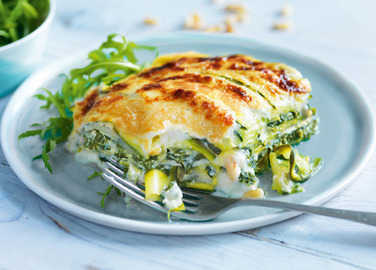 Image: Spinach and ricotta lasagne with courgette pasta