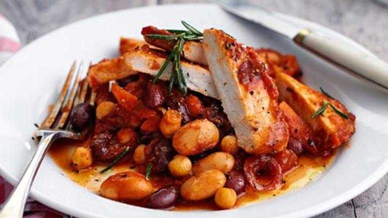 Pork with boston baked beans