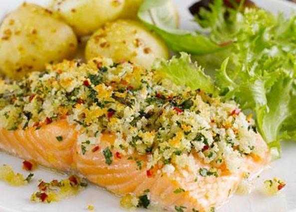Chilli-crusted salmon with hot potato salad