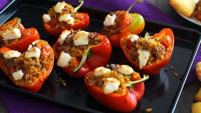 Mexican stuffed peppers with mini cornbread