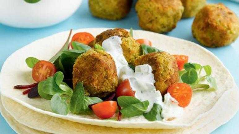 Falafel and tzatziki wraps