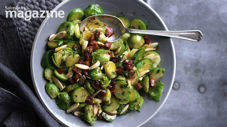 Brussels sprouts with almonds and chorizo