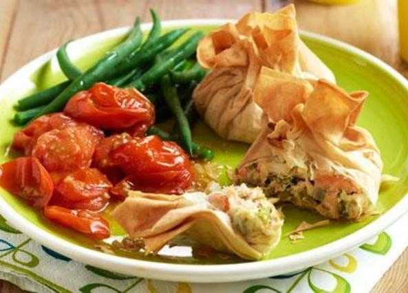 Salmon and pea filo parcels