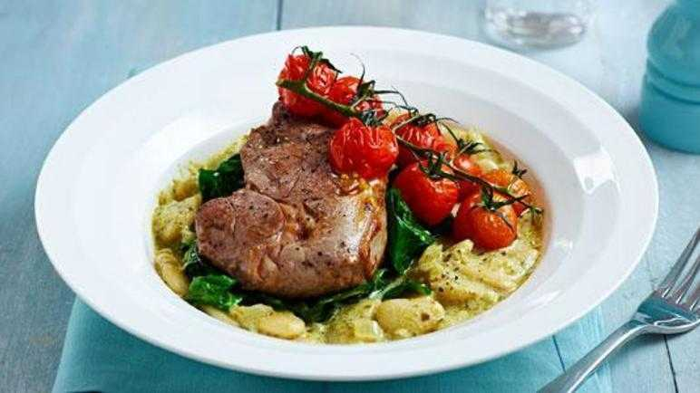 Lamb steaks with pesto butter beans