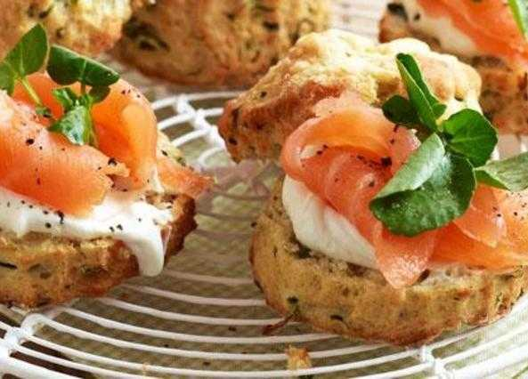Salmon, Cheddar and watercress scones