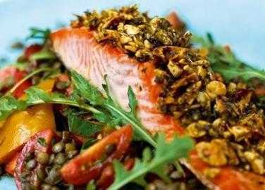 Almond-crusted salmon with warm Puy lentil salad