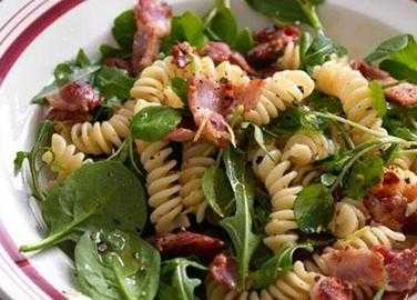 Pasta, bacon and watercress salad