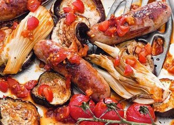 Roasted fennel, aubergine and sausages with harissa