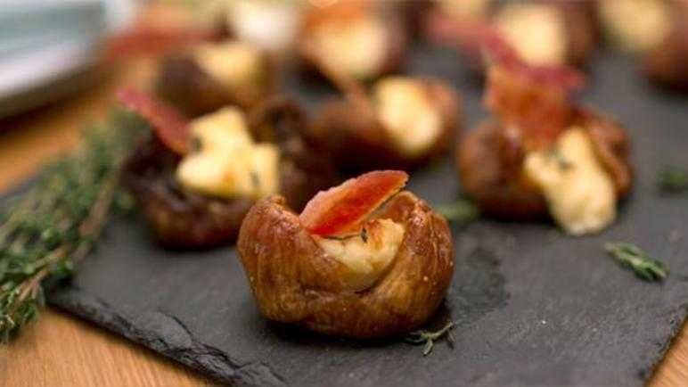 Bacon and cheese-stuffed figs