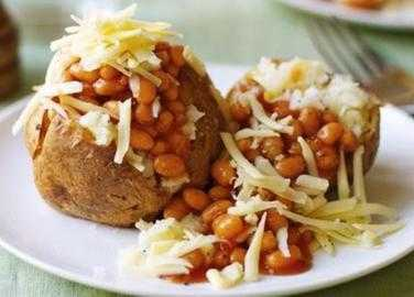 Baked potatoes with cheese and beans