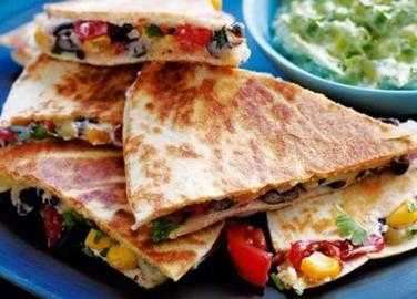 Sweetcorn and bean quesadilla