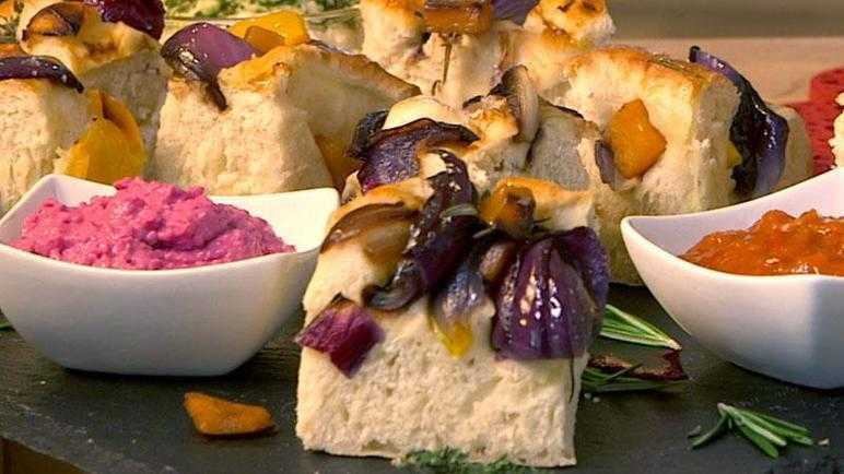 Roasted vegetable focaccia and dips