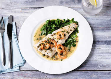 Image: Hake with prawn and caper butter