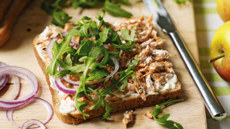 Salmon, rocket & red onion sandwic image