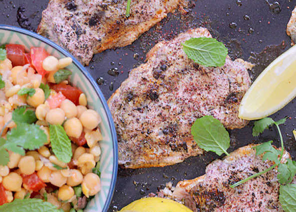Image: Sumac sardines with smashed chickpea salsa