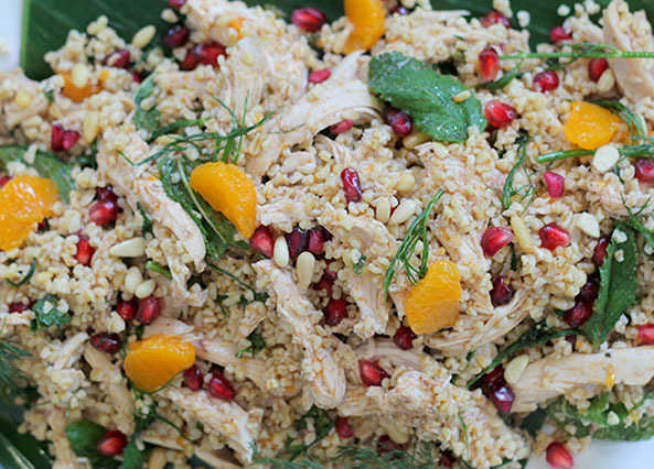 Image: Warm chicken salad with pomegranate and clementine