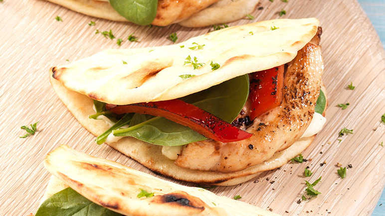 Image: Mediterranean chicken flatbreads