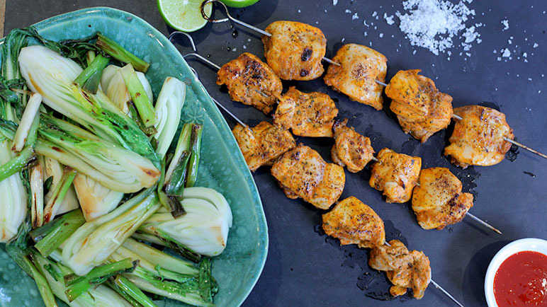 Image: Sriracha and Lime Chicken Kebabs with Pak Choi