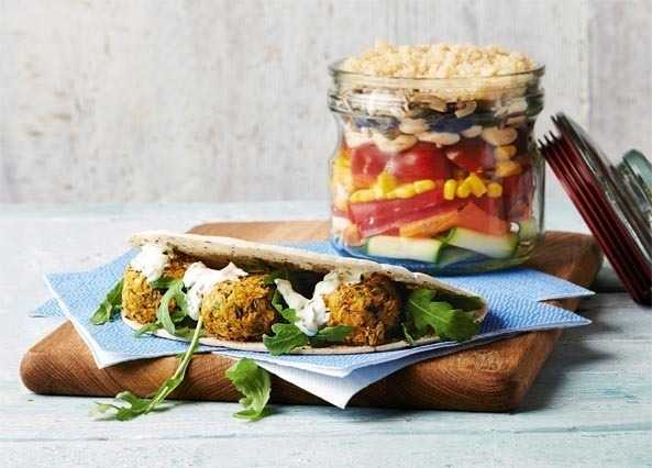 Image: Butter bean falafel with super salad in a jar