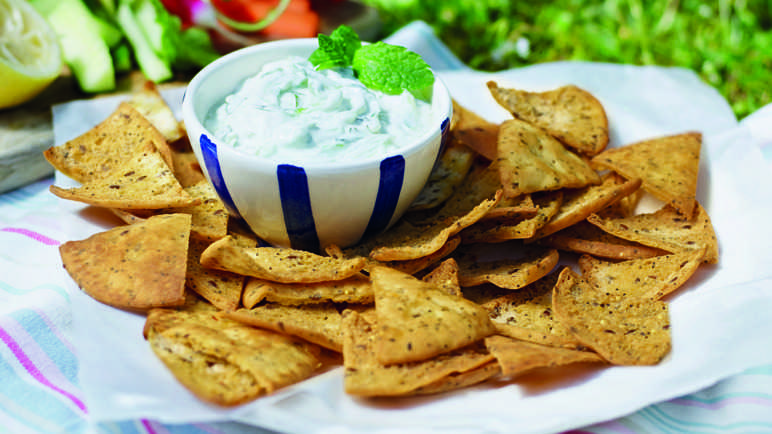 Image: Chilli pitta chips with a cool cucumber dip