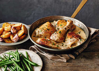Image: Chicken in cider with creme fraiche and potatoes recipe