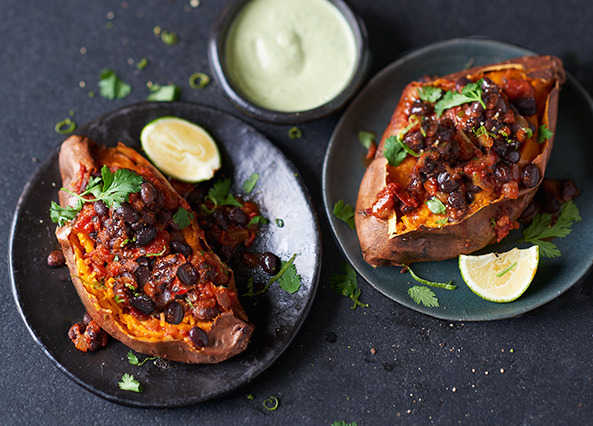Image: Sweet potato with black-bean chilli & lime tahini