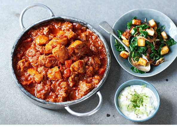 Image: Chicken curry with saag paneer & raita