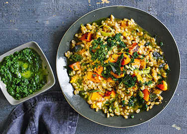 Image: Pumpkin farro risotto with sage and pesto