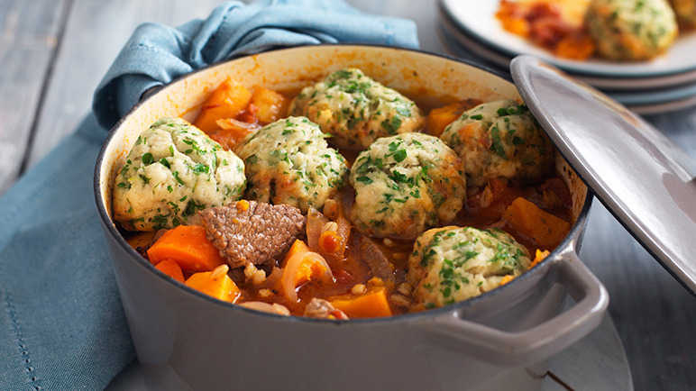 Image: Beef and barley hotpot with dumplings