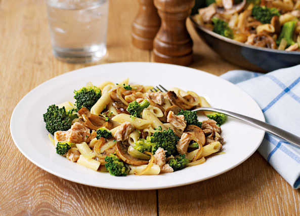 Image: Salmon pasta with mushroom and broccoli