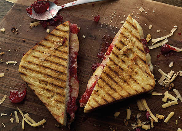 Image: Toasted cheese sandwich with cranberry sauce