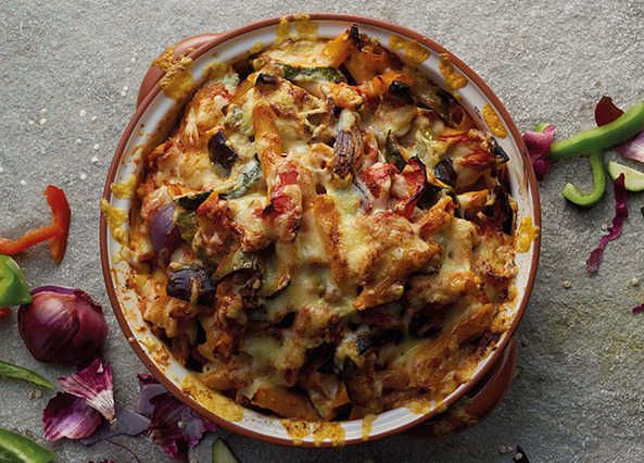 Image: Tomato and vegetable pasta bake with Greek yogurt