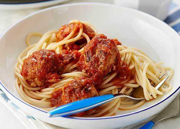 Image: Pork meatballs in a rich tomato sauce