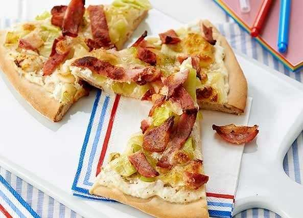 Image: Bacon, leek and mozzarella pizza