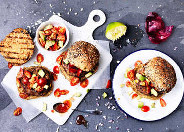 Image: Vegetarian burger with sweet chilli