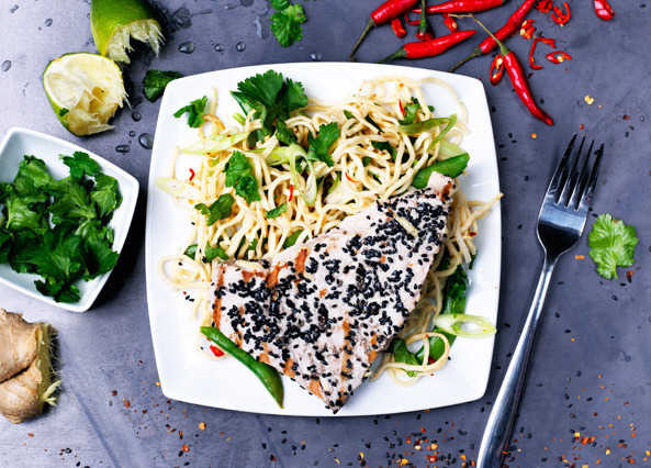 Image: Sesame crusted tuna with noodle salad