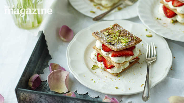 Rose and pistachio strawberry millefeuille