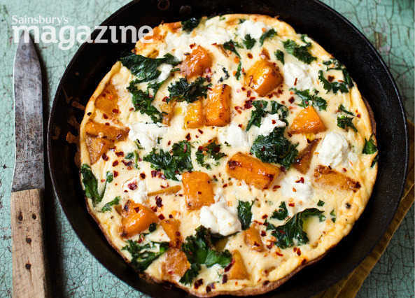 Image: Pumpkin, kale and goats' cheese frittata