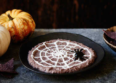 Image: Black bean hummus spider web