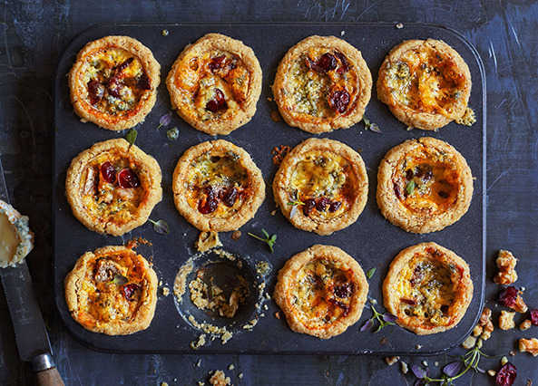 Image: Walnut tartletts with stilton and dried cranberries recipe
