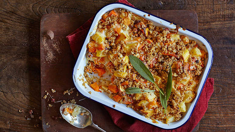 Image: Gluten-free roast vegetable and hazelnut crumble