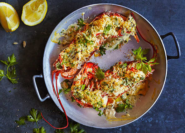 Image: Lobster thermidor with white wine sauce