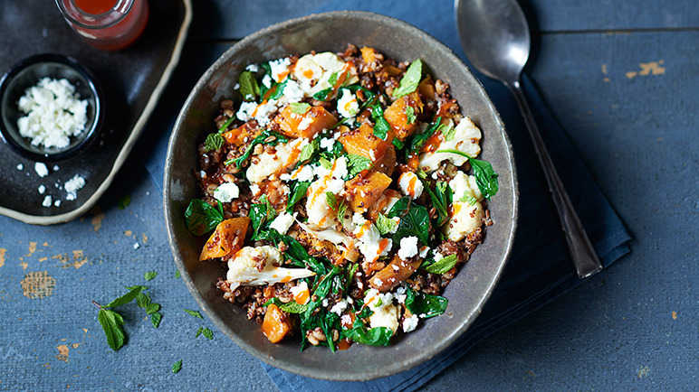 Image: Spiced squash and mixed grain health bowl