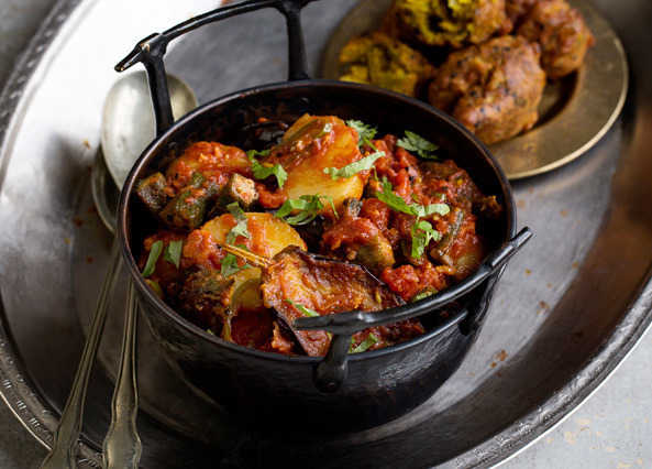 Image: Aubergine, okra and new potato curry