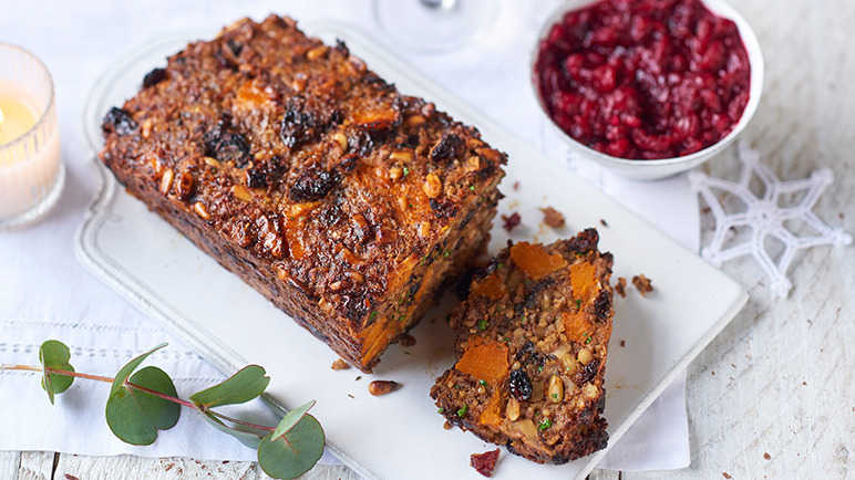 Image: Next level nut roast with spiced cranberry relish