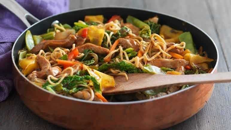 Pork and vegetable stir-fry image