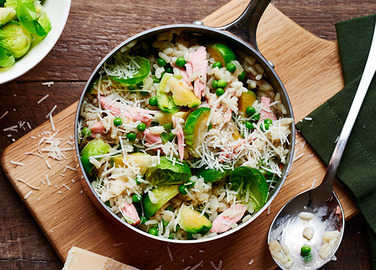 Image: Pea and ham risotto with brussels sprouts