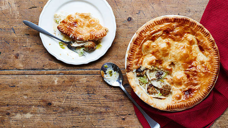 Image: Turkey and leek pie with stuffing