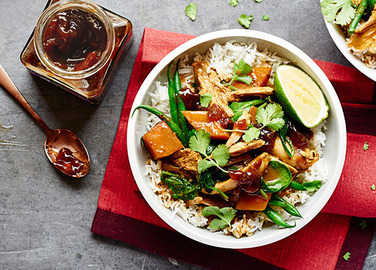 Image: Turkey curry with caramelised red onion chutney